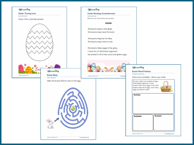 Easter reading and math worksheets