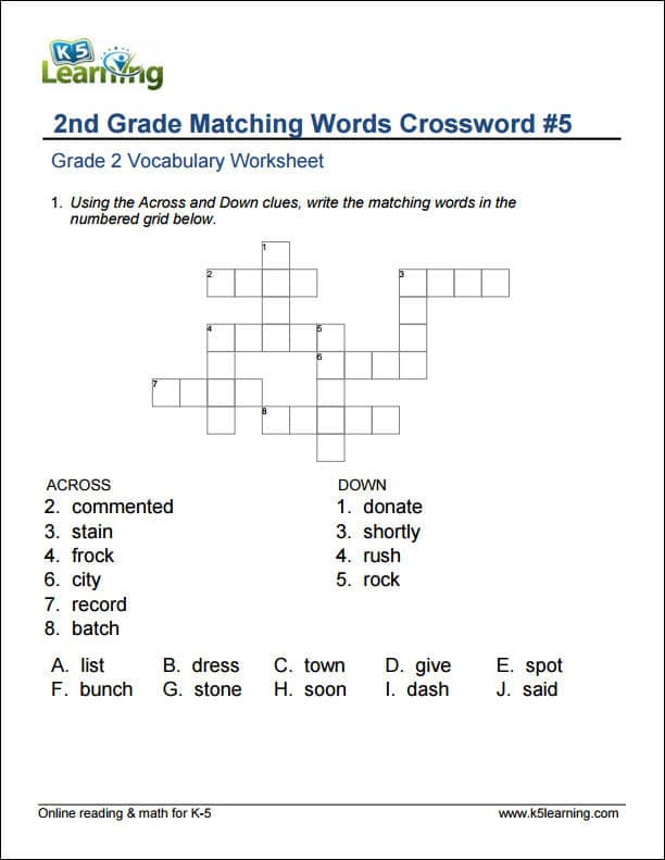 2nd Grade Vocabulary Worksheets printable and organized by – 2nd Grade Worksheet