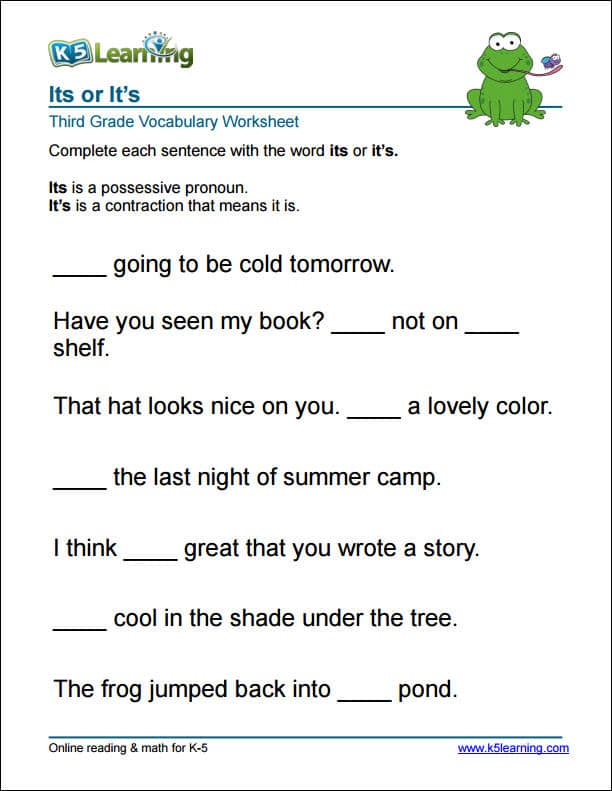 Printables Grammar Worksheets Third Grade grade 3 vocabulary worksheets printable and organized by subject 3rd its or worksheet