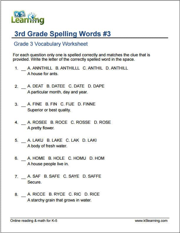 Printables Grammar Worksheets Third Grade grade 3 vocabulary worksheets printable and organized by subject 3rd spelling words