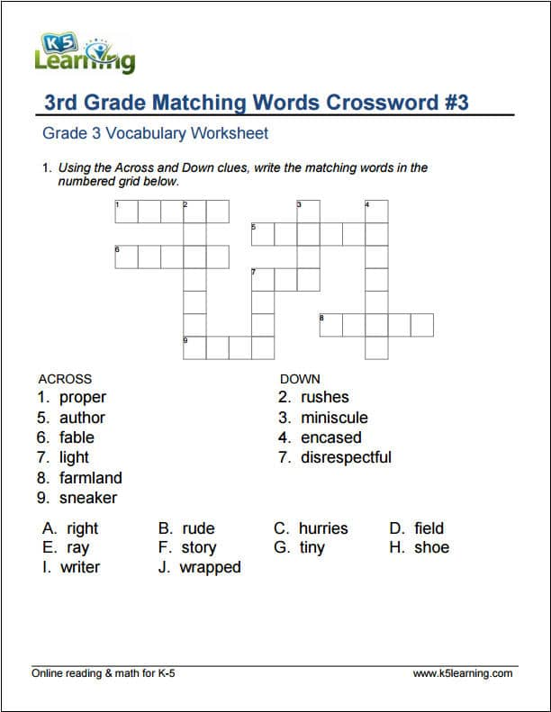 grade 3 vocabulary worksheets printable and organized by subject .