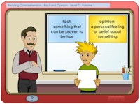 Screenshot of Grade 4 lesson: reading comprehension.