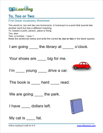 First Grade Vocabulary Worksheets – printable and organized by ...