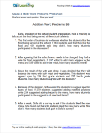 Grade 3 Addition Word Problem Worksheets | K5 Learning
