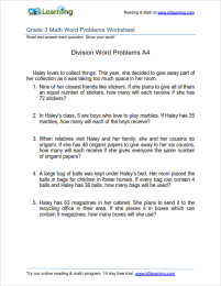 Grade 3 Division Word Problem Worksheets | K5 Learning