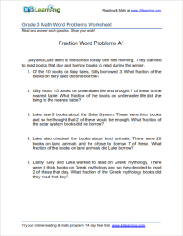 3rd Grade Fraction Word Problems Worksheet