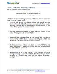 math worksheet : grade 3 multiplication word problem worksheets  k5 learning : Multiples Of 10 Worksheet
