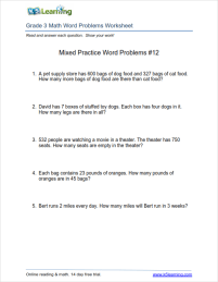 Math worksheets with word problems for grade 3 students. | K5 Learning