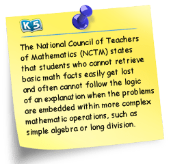 The National Council of Teachers of Mathematics (NCTM) states that students who cannot retrieve basic math facts easily get lost and often cannot follow local of an explanation when the problems are embedded within more complex mathematic operations, such as simple algebra or long division.