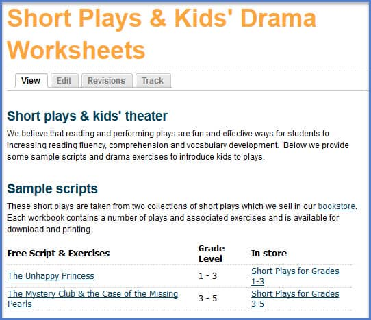 short plays page