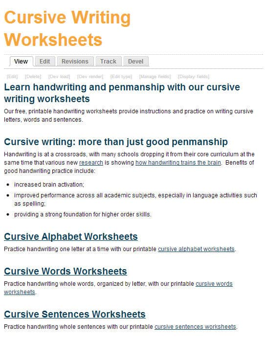 Free Printing and Cursive Handwriting Worksheets – Cursive Writing Worksheet