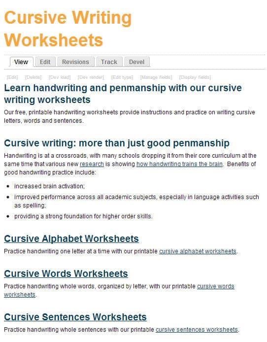 Free Printing And Cursive Handwriting Worksheets