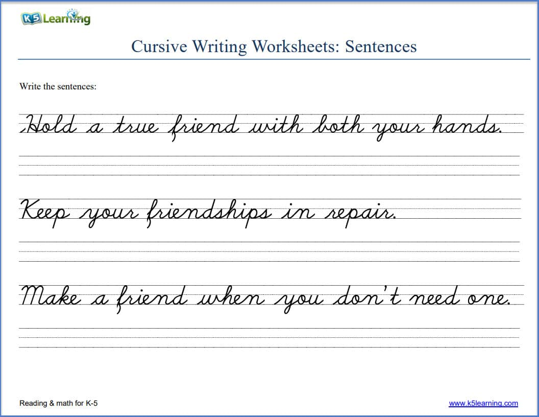 cursive writing sentences