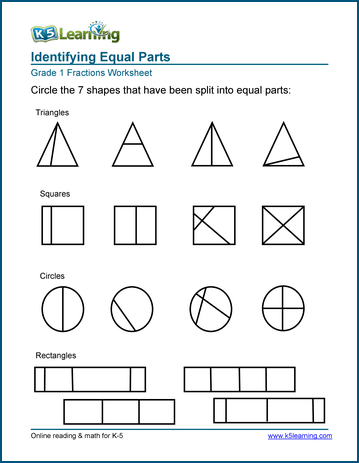 "1st Grade Fractions - Math Worksheets | K5 Learning""Equal parts"" worksheets Identifying equal parts - fractions worksheet"