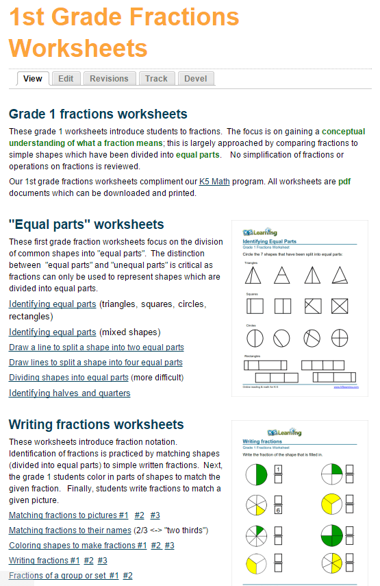 Fraction Worksheet 1 Www K5learning Com - grade 1 math worksheet telling time whole hours k5 ...