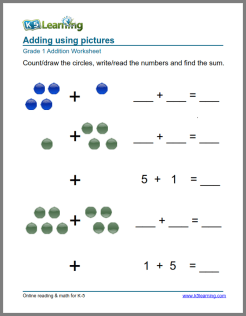 math worksheet : 1st grade math worksheet  addition with pictures or objects  k5  : Grade 1 Math Worksheets