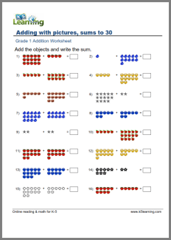 1st Grade Math Worksheet - Addition with Pictures or Objects | K5 ...