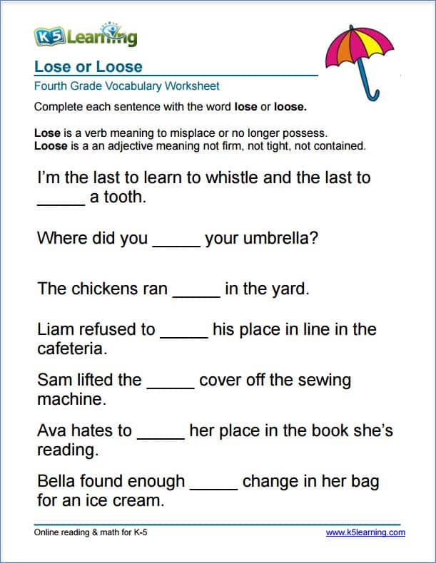 Worksheets Fourth Grade Printable Worksheets grade 4 vocabulary worksheets printable and organized by subject lose or loose worksheet