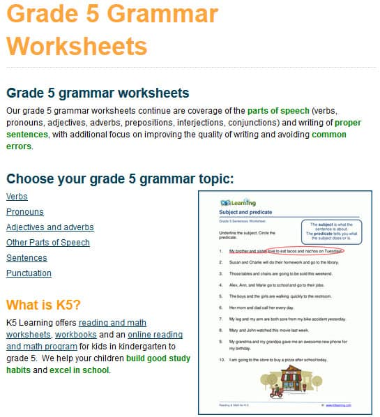 New Grade 5 Grammar Worksheets K5 Learning