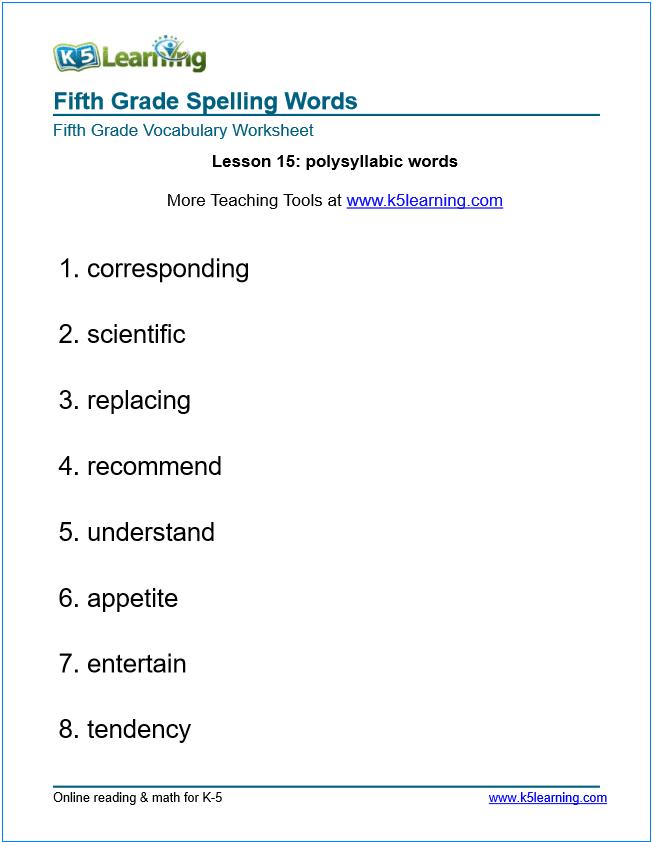 Fifth Grade Spelling Words on Learning Greek Worksheets