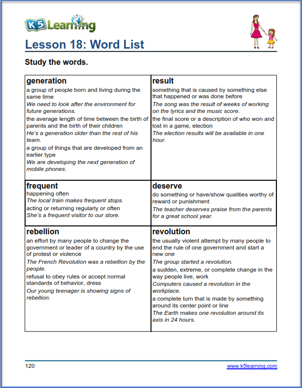 grade 5 vocabulary word list