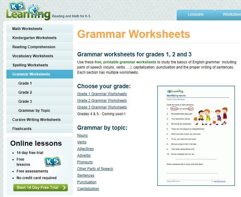 grade 3 grammar worksheets