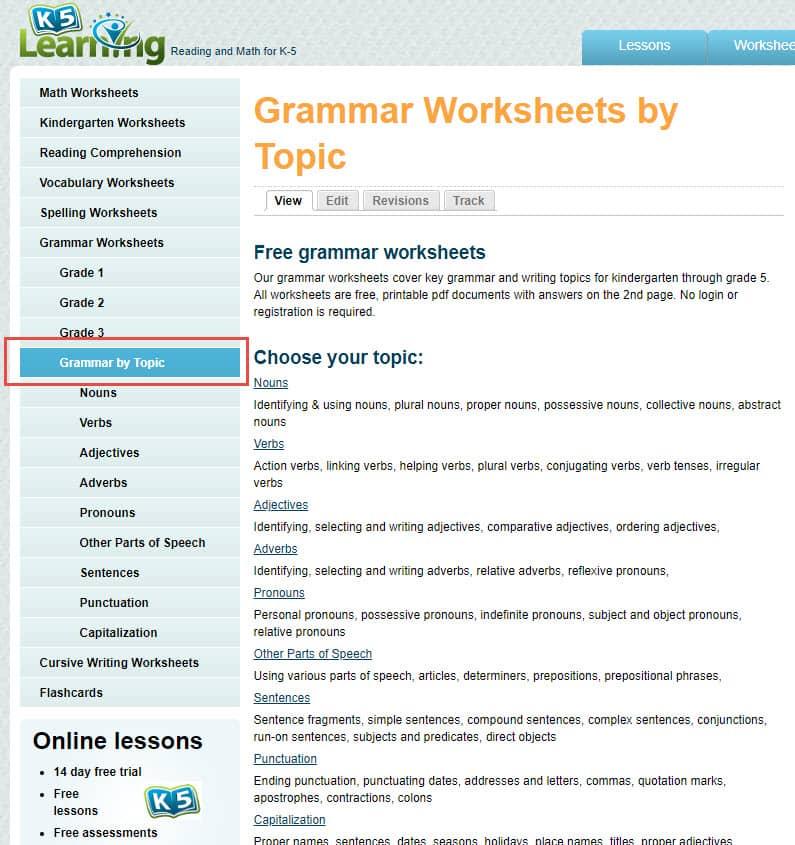 K5 Grammar Worksheets New Worksheets Categories