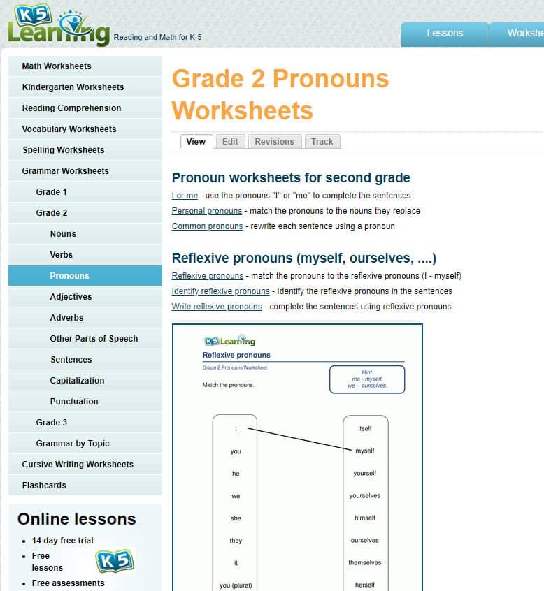 K5 grammar worksheets - new worksheets & categories
