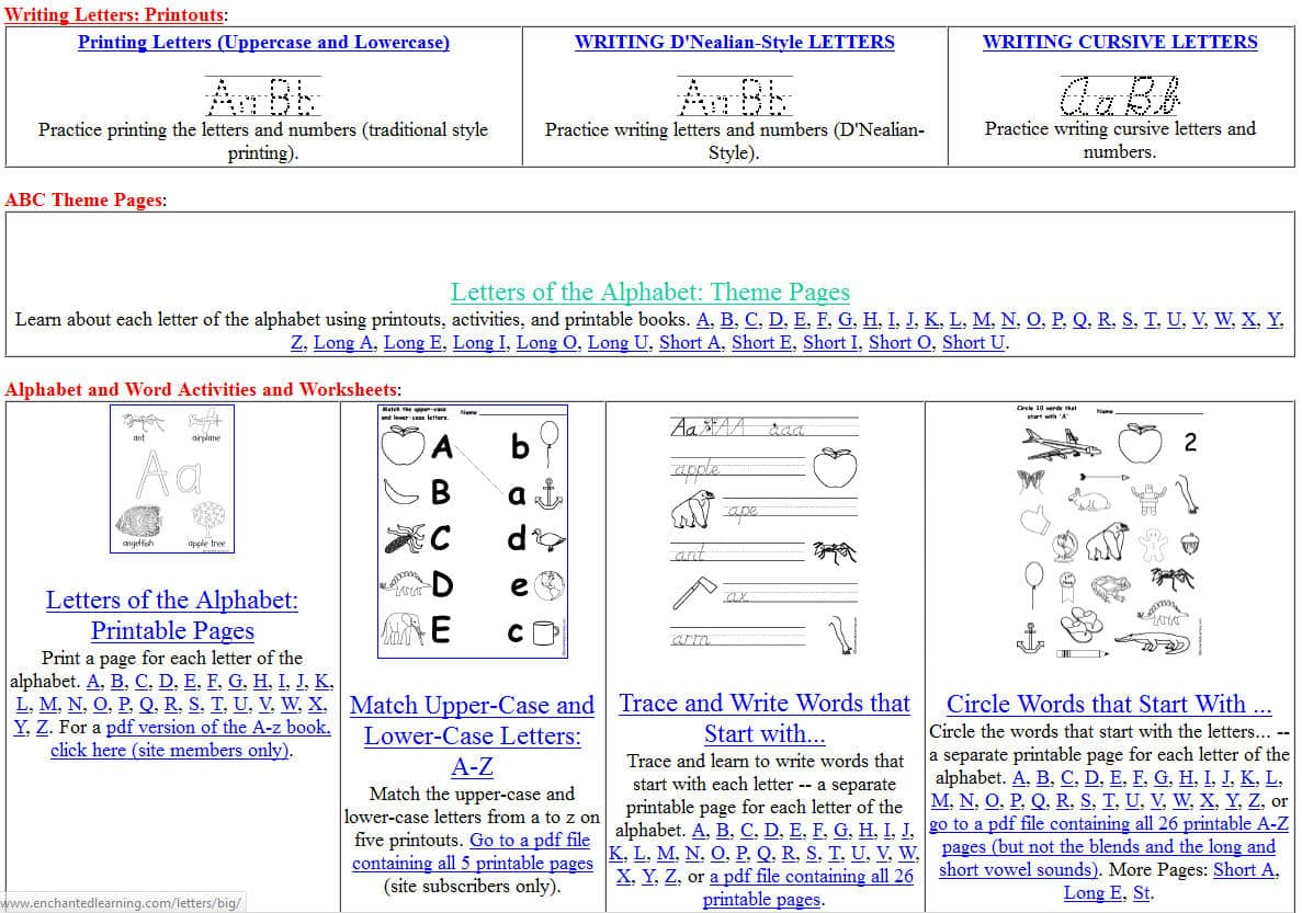 Worksheet Handwriting Learning free printing and cursive handwriting worksheets enchanted learning