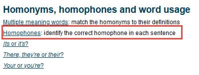 Homophones section