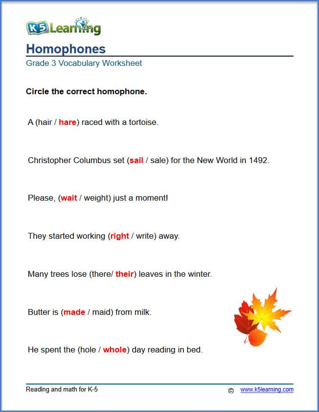 homophones answers