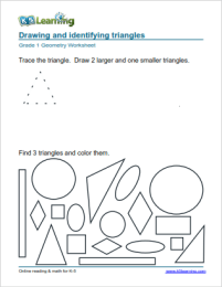 Triangle Worksheets For First Grade: 1st Grade Geometry Worksheets   K5 Learning,
