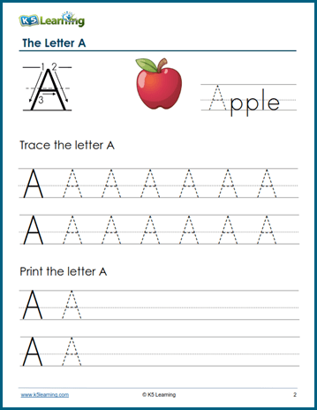Trace and print letter A