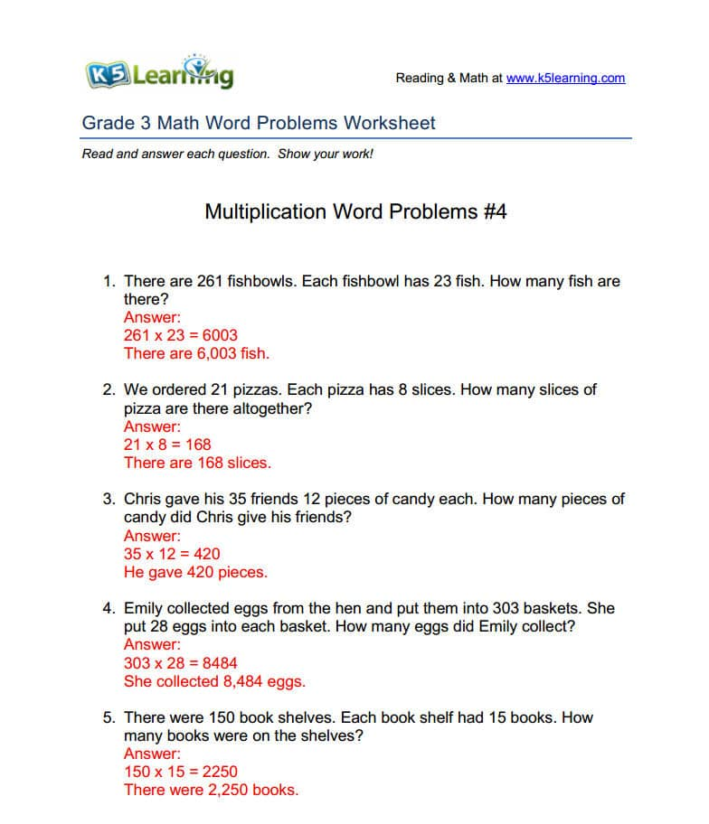 answers for math problems 4th grade math word problems worksheets our grade 4 math word problem worksheets complement our k5 math program answers are.