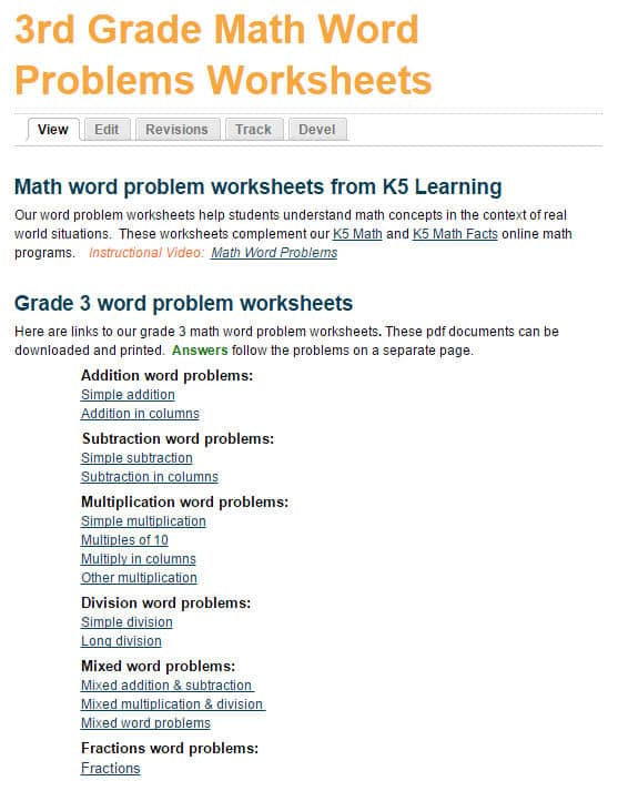 Math Worksheets With Word Problems For Grade 3 Students K5 Learning