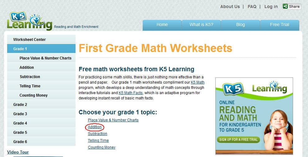 K5 Learning Launches Free Math Worksheets Center