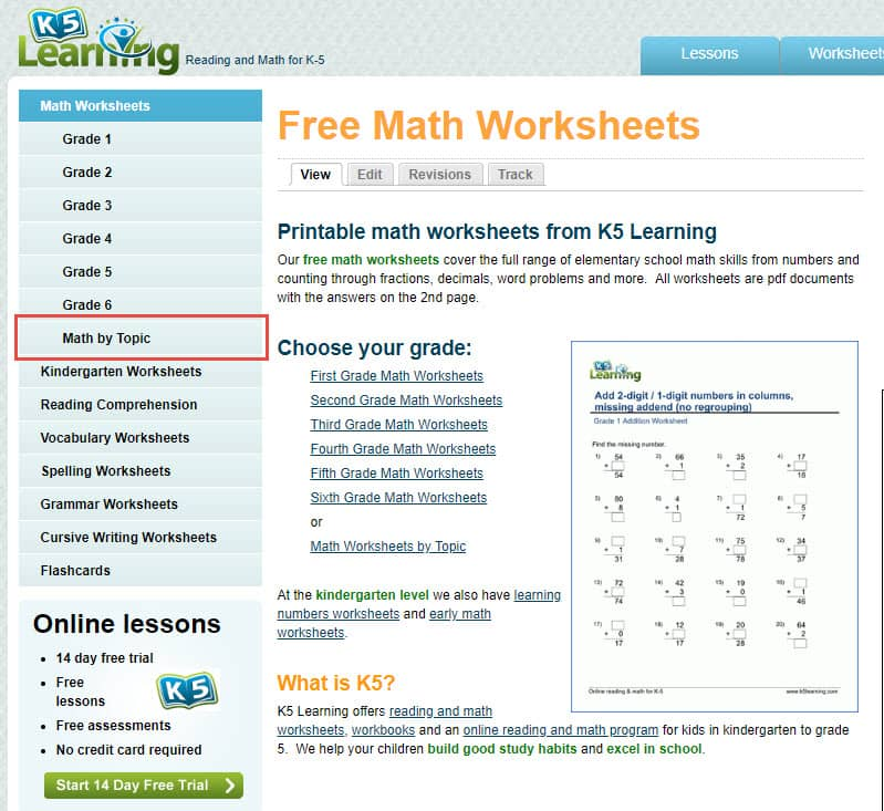 Free Math Worksheets Organized By Topic K5 Learning