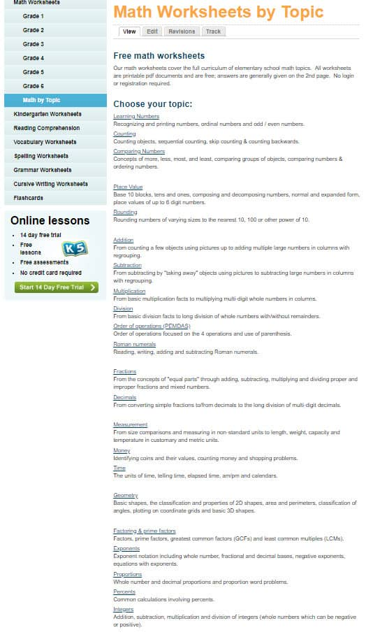 Search by topic for math worksheets