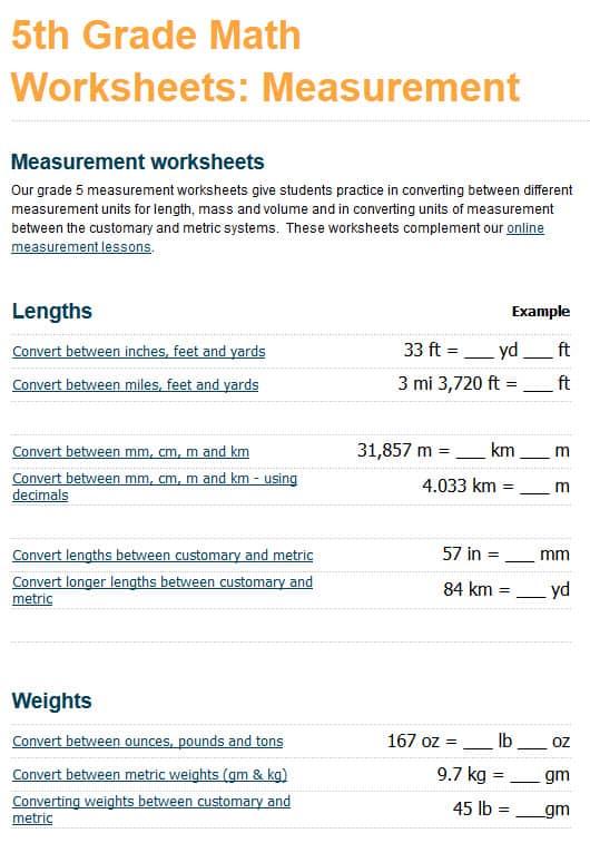 Grade 5 Measurement Worksheets - free & printable | K5 Learning