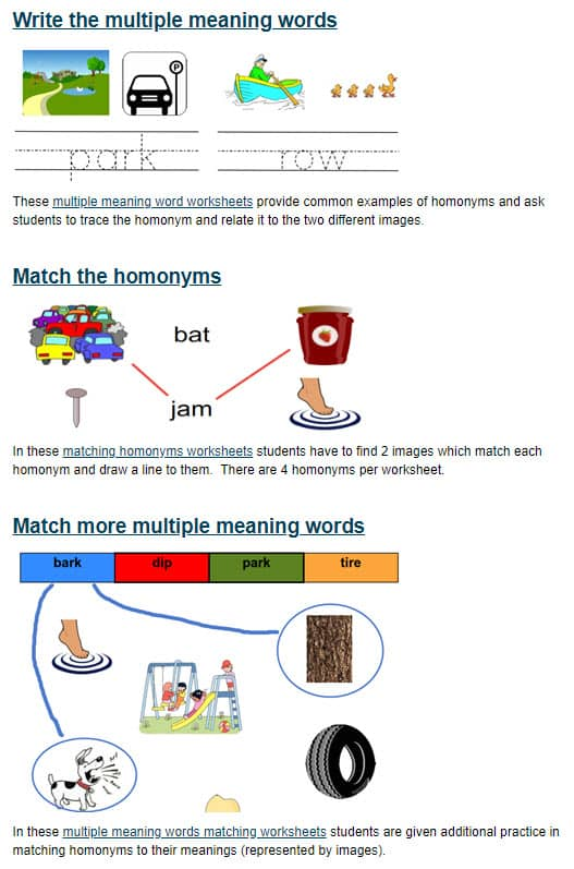 Multiple Meaning Words Worksheets For Kindergarten
