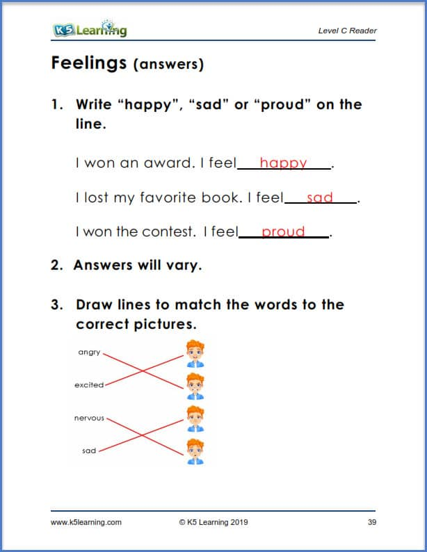 reading comprehension story answers