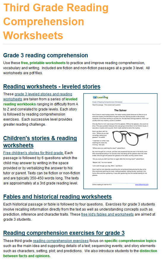 K5 Improves Reading Comprehension Worksheets