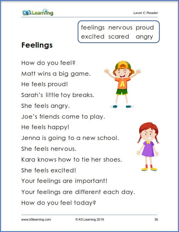 kindergarten reading comprehension story