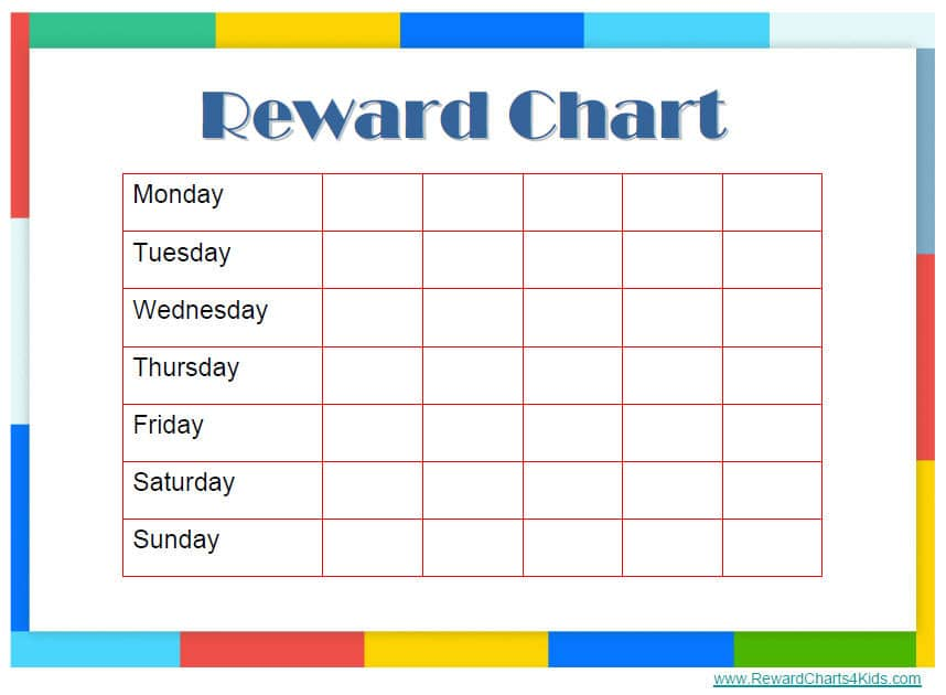 Homework reward chart colouring pages
