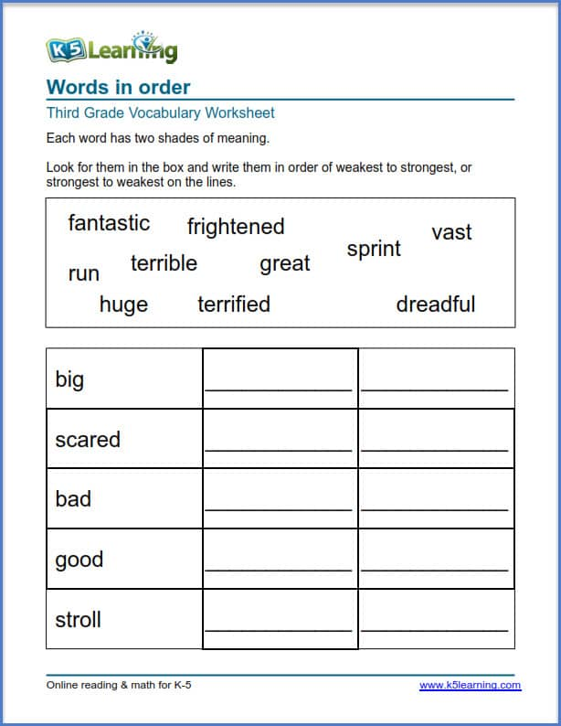 grade 3 shades of meaning worksheets