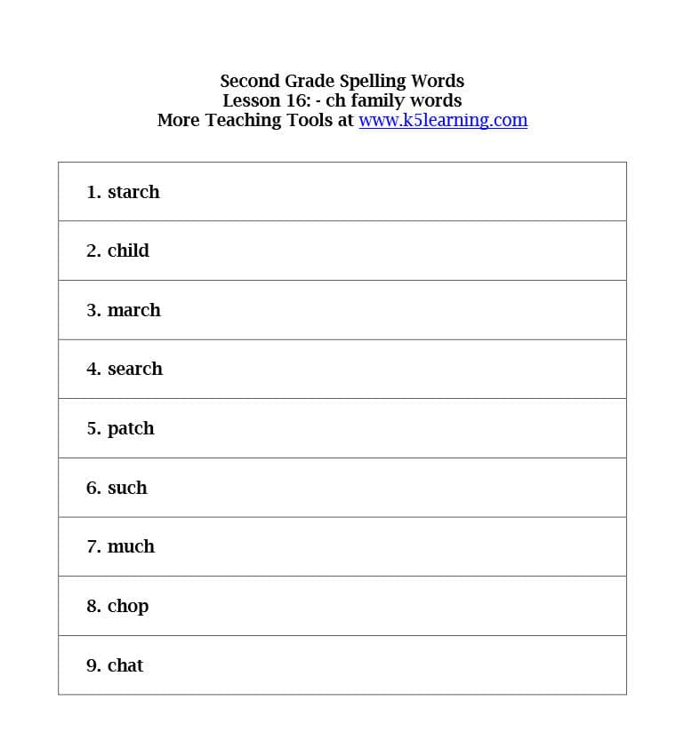 Printables 2nd Grade Spelling Words Worksheet second grade spelling words k5 learning words
