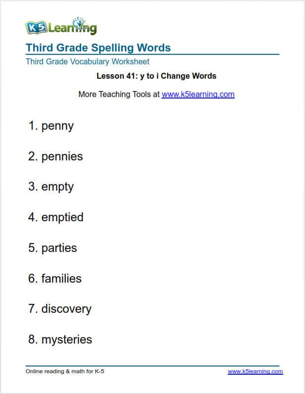 Third Grade Spelling Words | K5 Learning