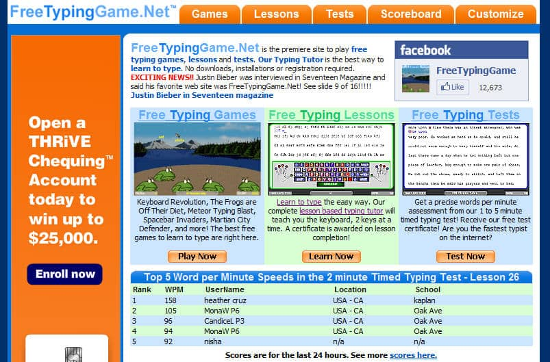 free typing games for free for kids