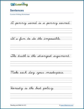 Writing Cursive Sentences Worksheets - Free and Printable   K5 Learning