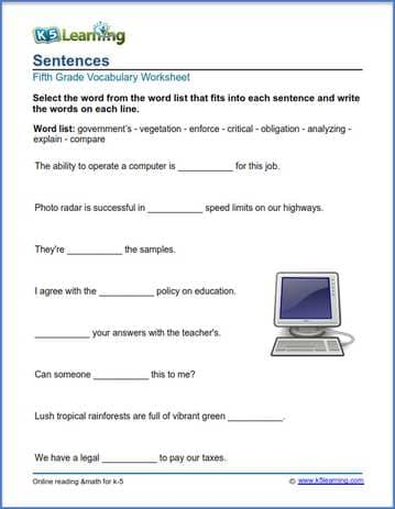 Grade 5 Vocabulary Worksheets Printable And Organized By Subject